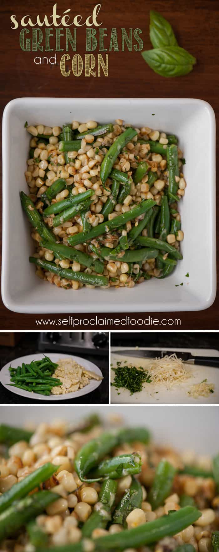 Sauteed Green Beans and Corn make for an easy and delicious vegetable side dish. Blanch the veggies to bring out the vibrant color and amazing fresh taste.