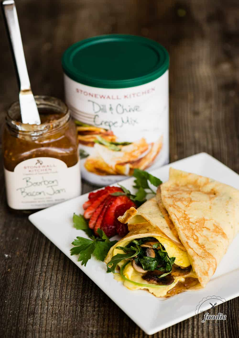 How to use Stonewall Kitchen dill and chive crepe mix, bourbon bacon jam for an egg breakfast