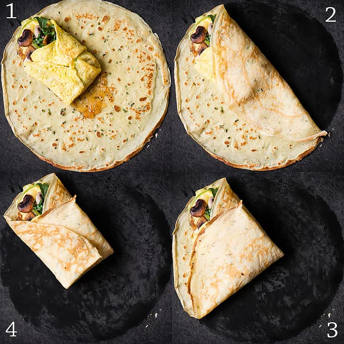 How to assemble savory crepes around eggs for breakfast