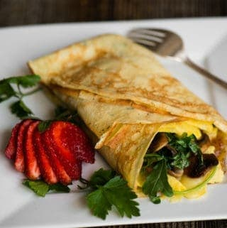 How to make Savory Breakfast Crepes with eggs, veggies, cheese, and bourbon bacon jam