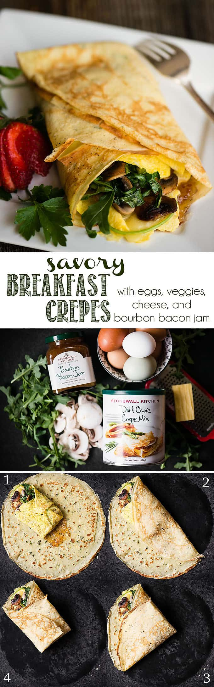 Savory Breakfast Crepes with Bourbon Bacon Jam are an incredibly easy and delicious option to start your day. Savory Stonewall Kitchen Dill & Chive Crepes are wrapped around egg, cheese, arugula and mushrooms. Bourbon Bacon Jam adds an intense sweet and salty flavor that ties the entire spring inspired meal together! #crepes #savorycrepes #dill #chive #bacon #bourbon #baconjam #breakfast #breakfastcrepes #eggs #arugula #mushroom