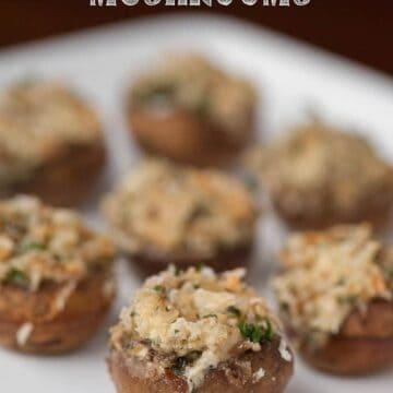 A plate of Stuffed mushrooms