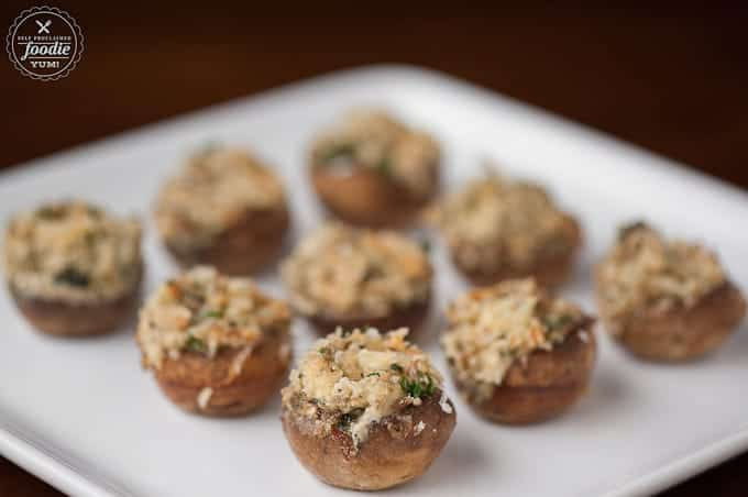 A plate of homemade Stuffed mushrooms