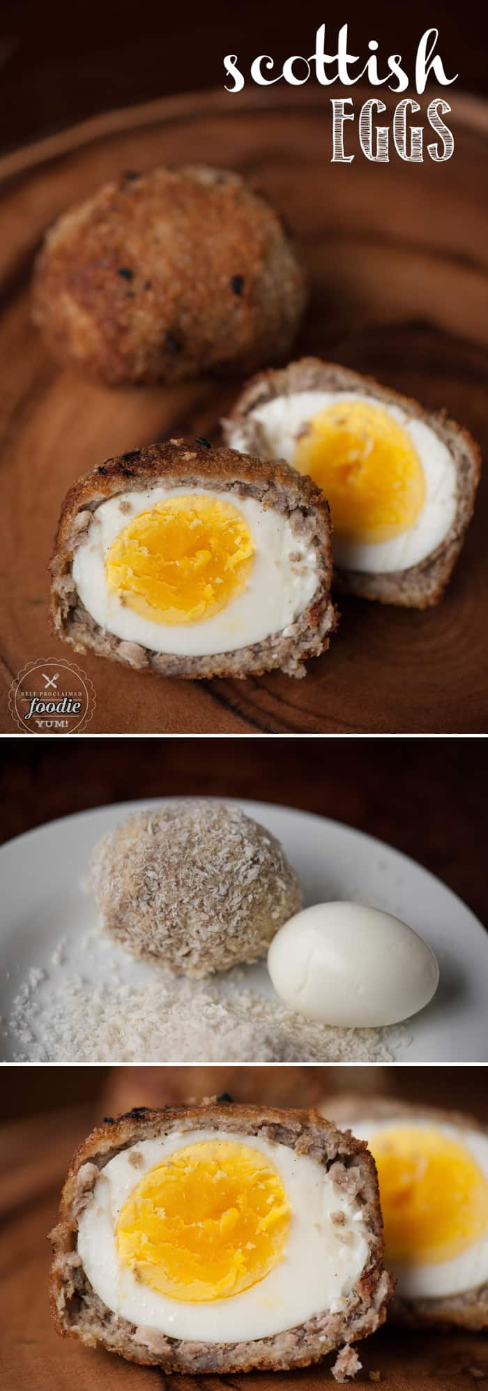 Scottish Eggs are a delicious take on breakfast. Egg wrapped in sage breakfast sausage, then dipped in egg, and then fried? Yes please.
