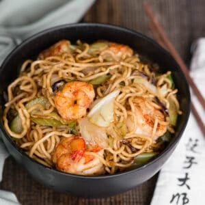 chow mein with shrimp in bowl