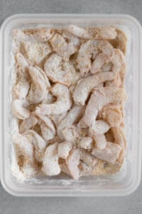 raw shrimp coated in flour and cornmeal