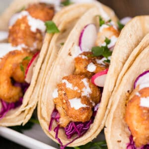 soft tacos with shrimp and coleslaw