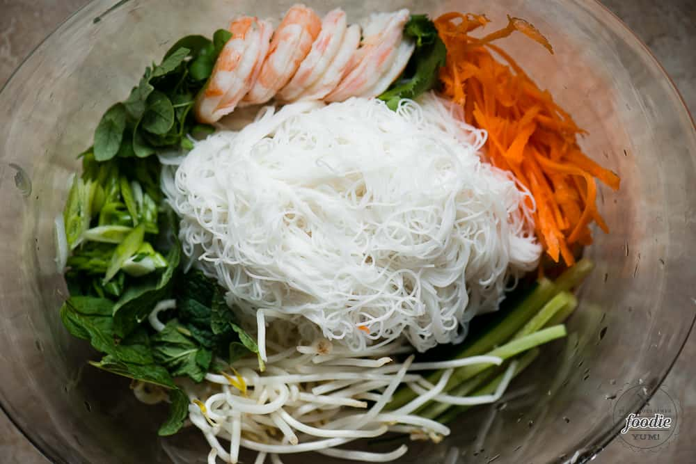 Ingredients for a Shrimp Vermicelli Salad