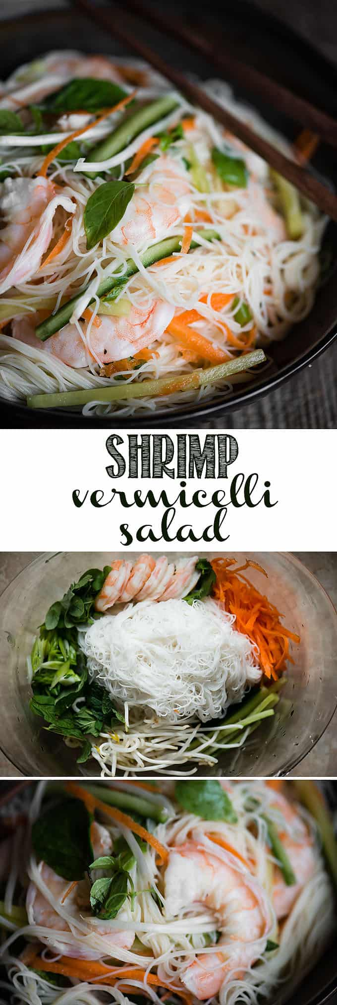 Shrimp Vermicelli Salad is basically a shrimp summer roll, minus the rice paper, that has been deconstructed. This Vietnamese noodle salad, loaded with fresh herbs and vegetables, can be served warm or cold and the recipe includes a homemade peanut sauce vinaigrette. Grab a fork or chop sticks to dig in! #Shrimp #Vermicelli #Salad #ricenoodle #ricenoodlesalad