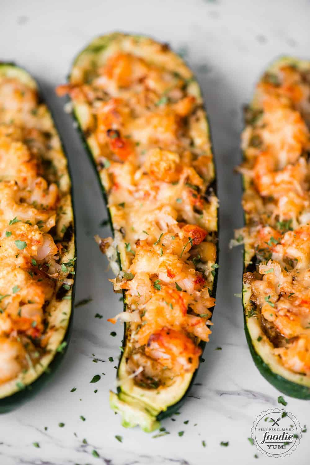 zuchinni boats with shrimp