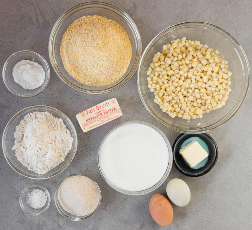 ingredients to make homemade cornbread