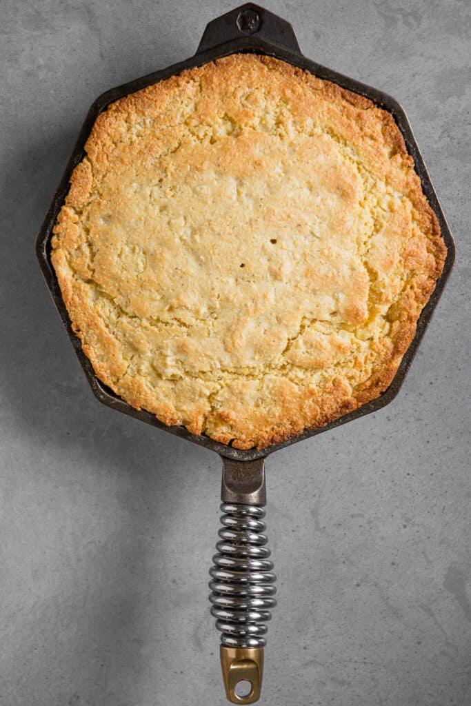 skillet buttermilk cornbread in pan