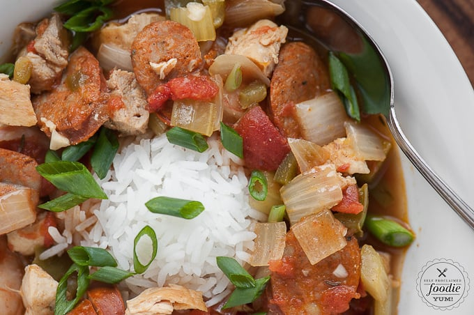 This Slow Cooker Jambalaya with chicken, andoille sausage, shrimp and rice is a great meal for an easy family weeknight dinner.