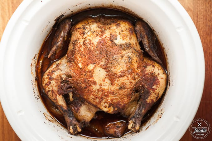 If you're looking for an easy weeknight dinner, make use of that crockpot and look no further than this delicious and simple Slow Cooker Whole Chicken.