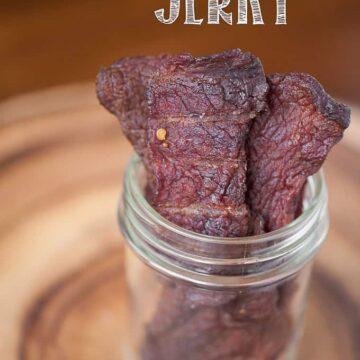 homemade beef jerky in mason jar