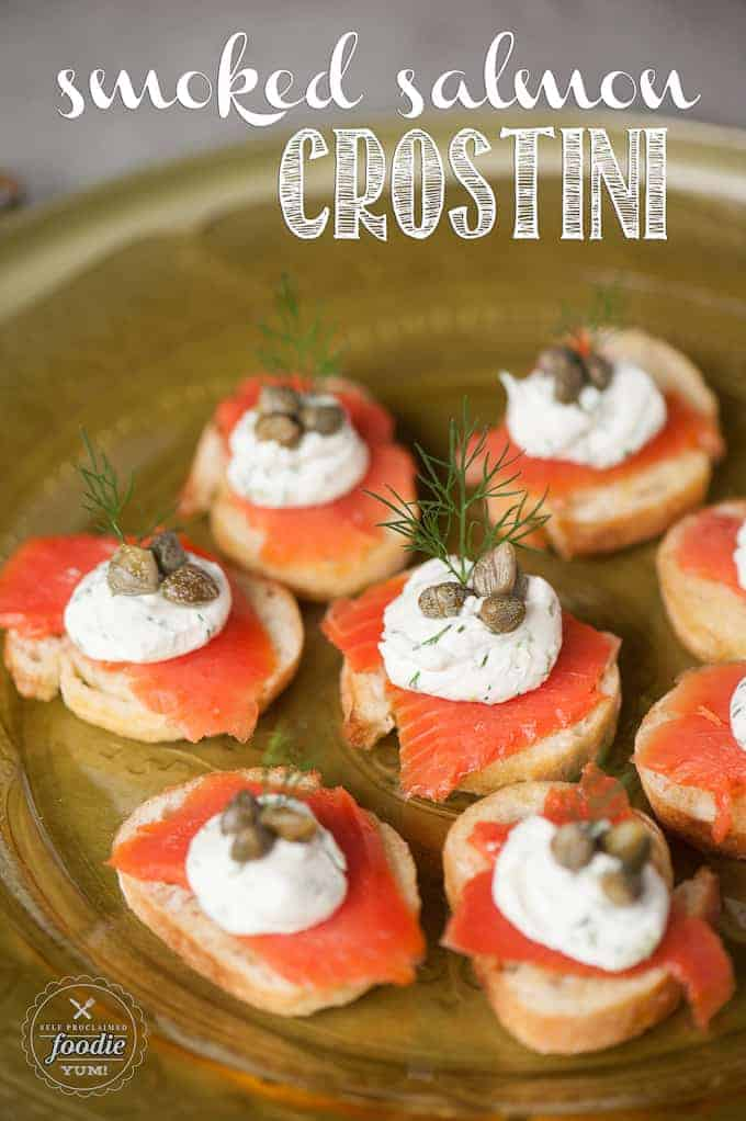 smoked salmon crostini on a brown dish