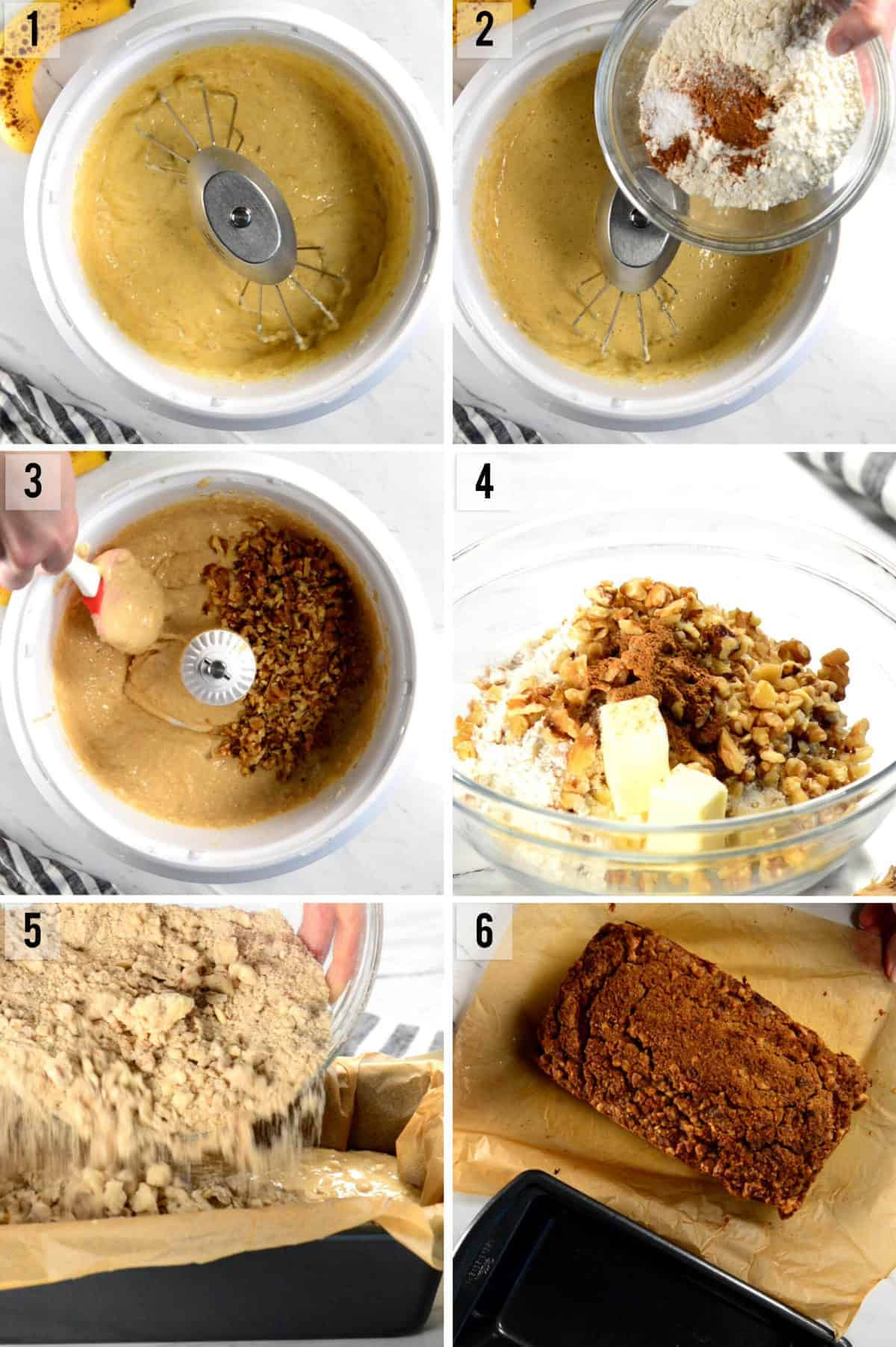 process photos of how to make Sour Cream Banana Nut Bread with streusel topping