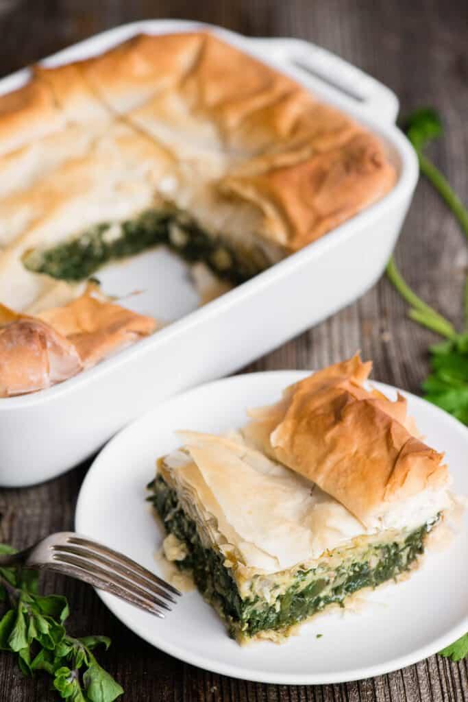 Greek Spinach Pie on plate