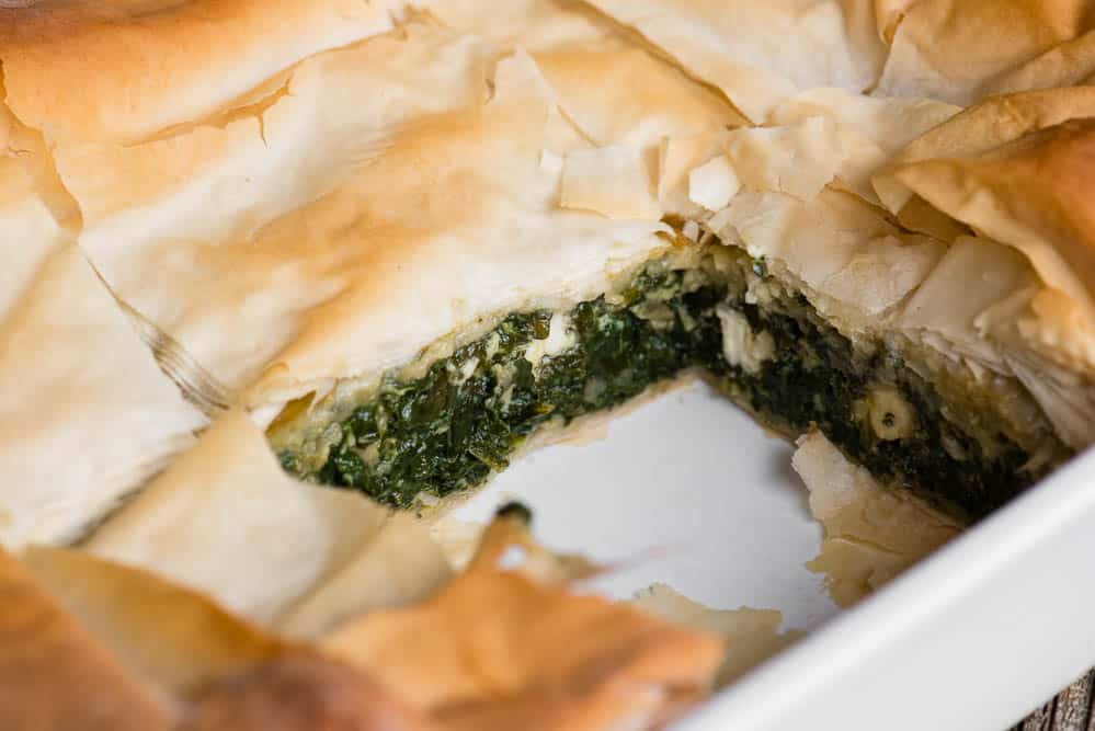 delicious spanakopita with fresh spinach filling and filo dough