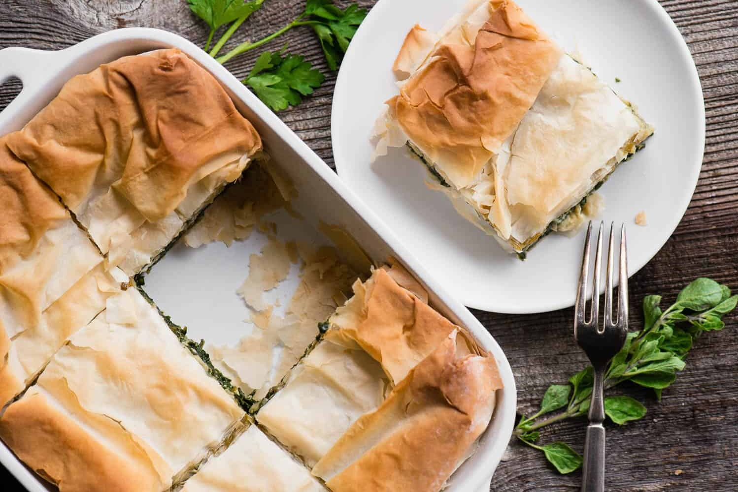 large serving of spanakopita