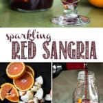 Sparkling Red Sangria is made with your favorite red wine, a splash of orange liquour, small bites of fresh fruit, and bubbles! The longer the fruit soaks, the more of the sangria it absorbs for a snack once you finish your cocktail! This red wine sangria recipe is a fabulously easy make-ahead cocktail. #sangria #redsangria #redwinesangria #cocktail #wine
