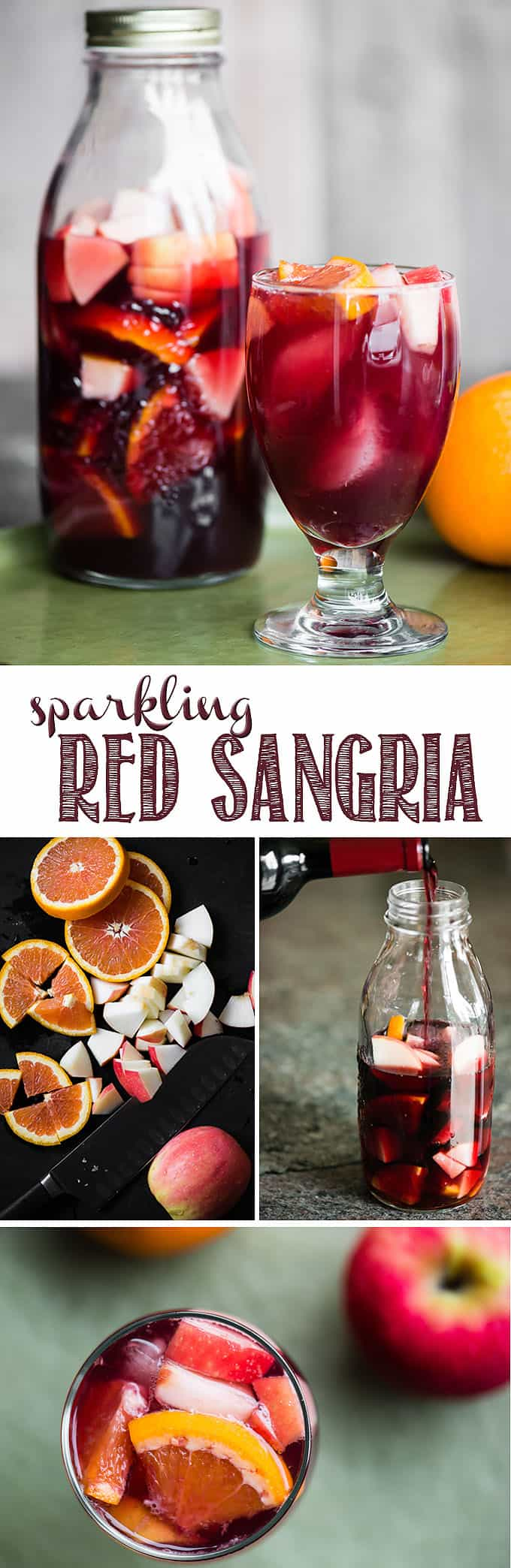 Sparkling Red Sangria is made with your favorite red wine, a splash of orange liquour, small bites of fresh fruit, and bubbles!The longer the fruit soaks, the more of the sangria it absorbs for asnackonce you finish your cocktail! This red wine sangria recipe is a fabulously easy make-ahead cocktail. #sangria #redsangria #redwinesangria #cocktail #wine