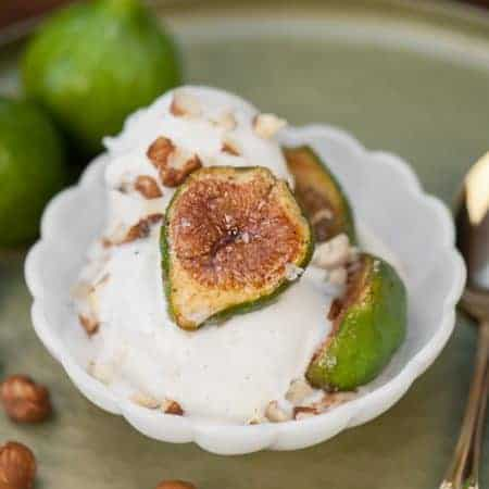 Spiced Roasted Figs with Hazelnuts and Vanilla Ice Cream