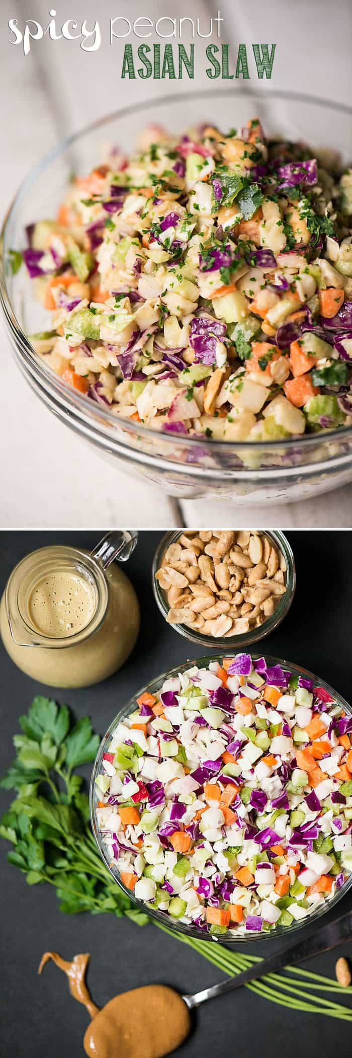 If you're looking for a quick and healthy side salad to accompany your meal, look no further than this easy Spicy Peanut Asian Slaw.
