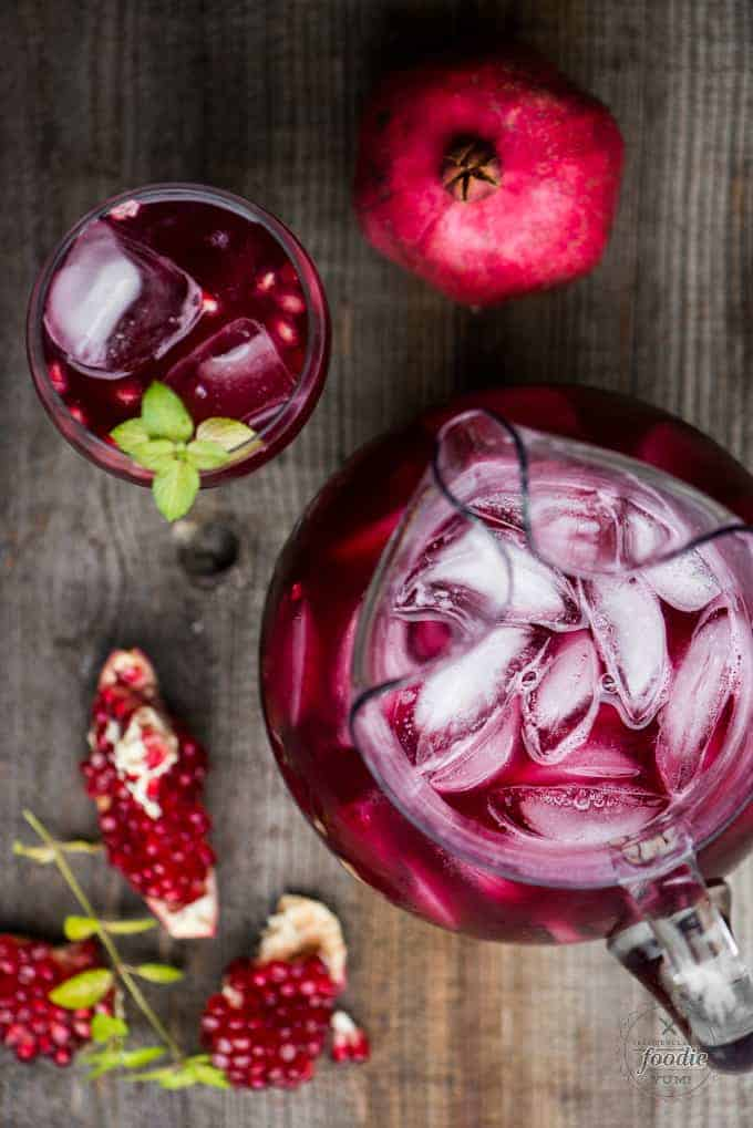Pomegranate party punch with vodka and prosecco
