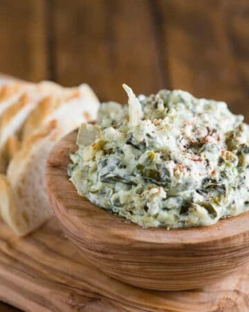 Spinach Artichoke Dip made with fresh spinach