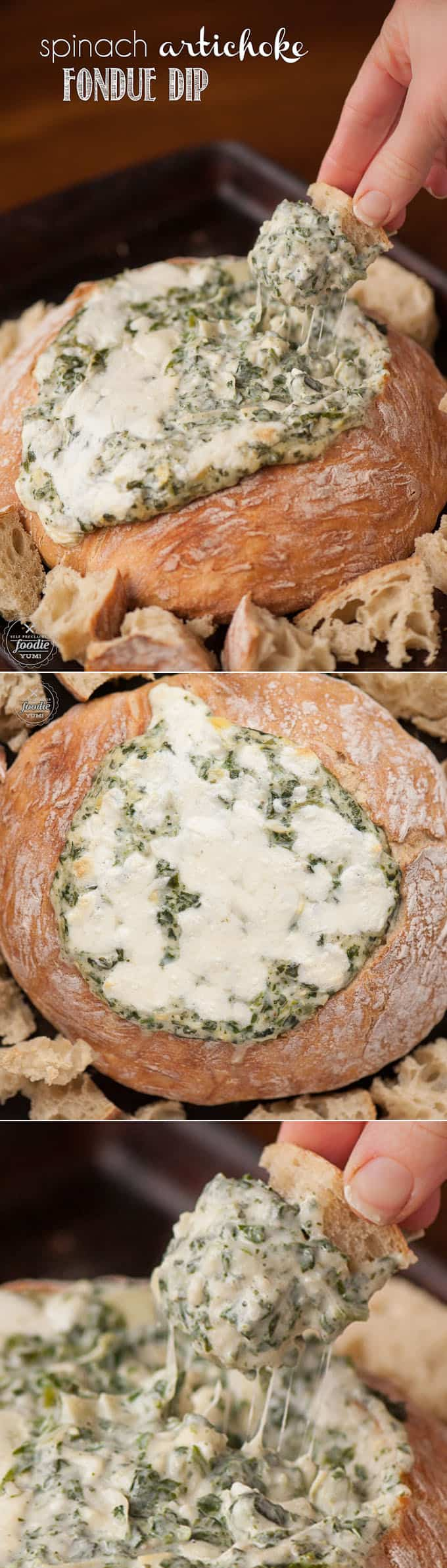 Unlike warm cheesy dips made with cream cheese or mayonnaise, this Spinach Artichoke Fondue Dip is made with Gruyere, Parmesan, and mozzarella.