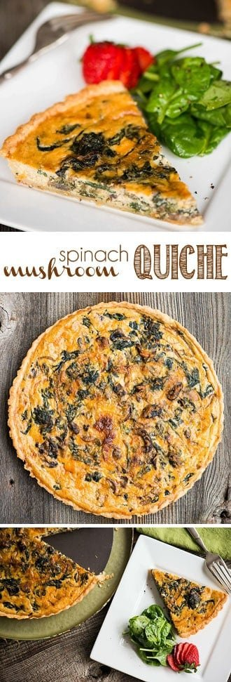 Mushroom Spinach Quiche is a rich and savory meal baked in an all butter pie crust. This homemade quiche recipe is perfect as breakfast or lunch when served with lightly dressed greens. #quiche #spinachquiche #mushroomspinachquiche #savory #breakfast