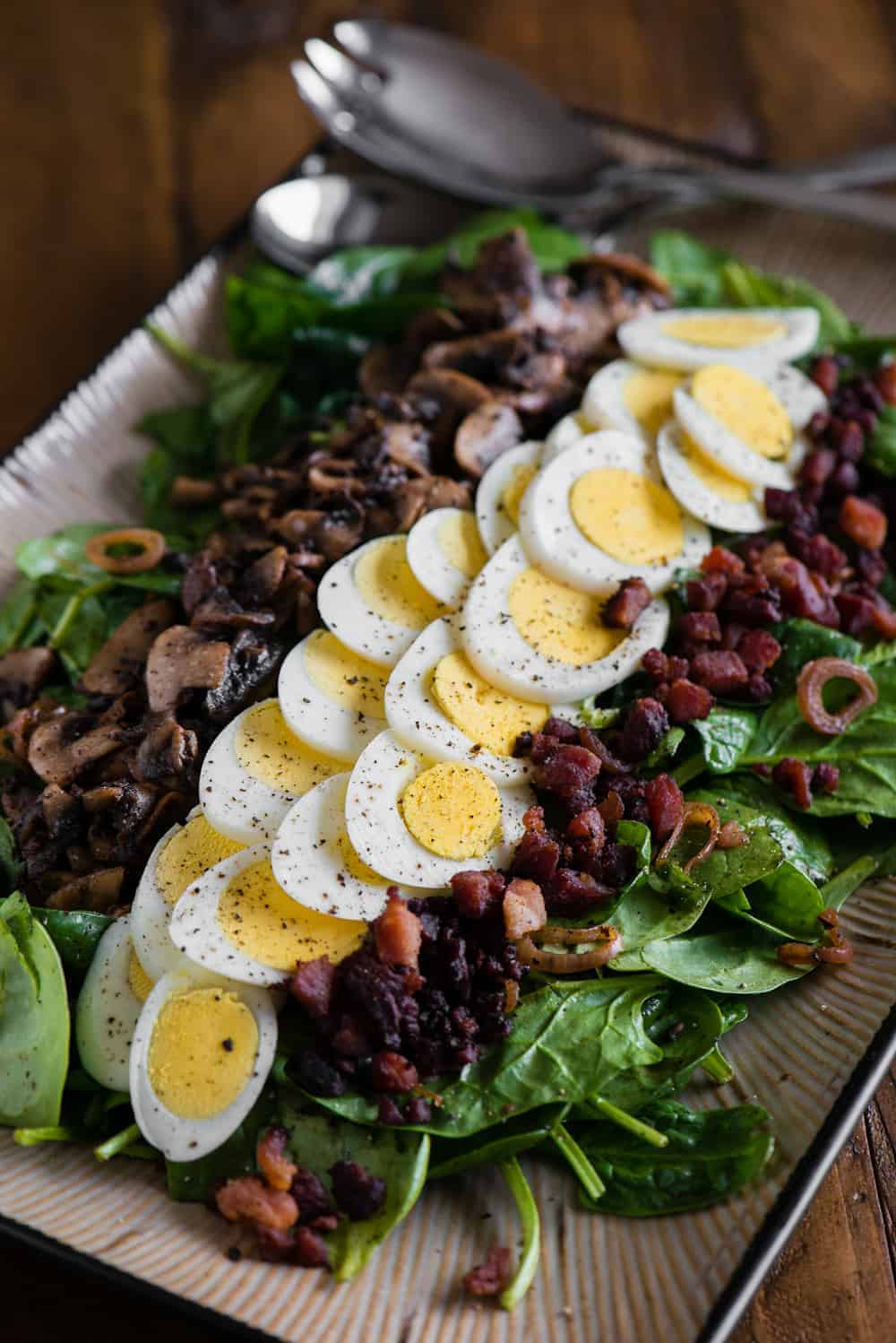 recipe for warm spinach salad with bacon and mushroom