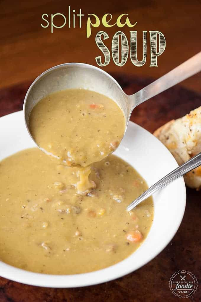 If you're looking for a high fiber, healthy, comforting, and delicious meal, make this Split Pea Soup and serve it up with a triple threat grilled cheese.