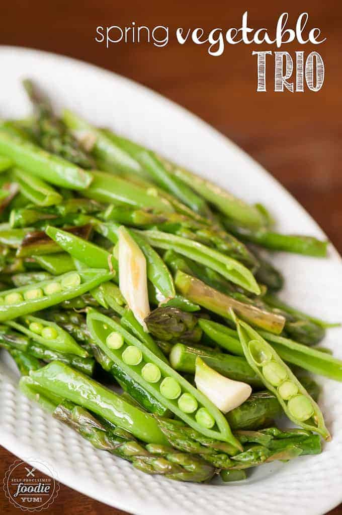 This Spring Vegetable Trio is a quick and delicious saute of fresh asparagus, garlic spears, and sugar snap peas that makes an easy to prepare side dish.