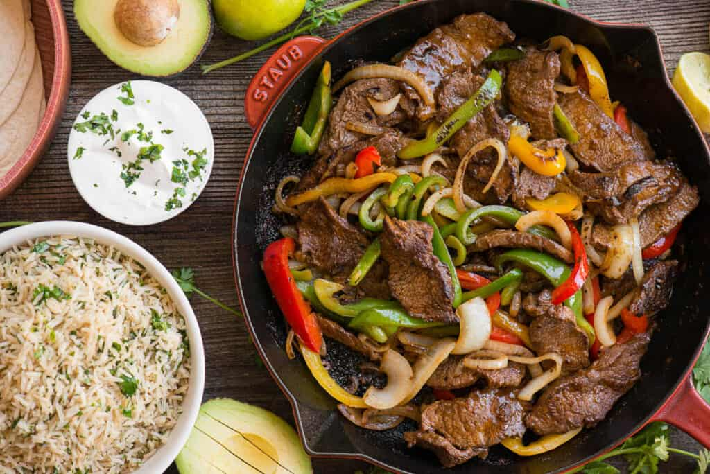 Steak Fajitas with peppers and onions