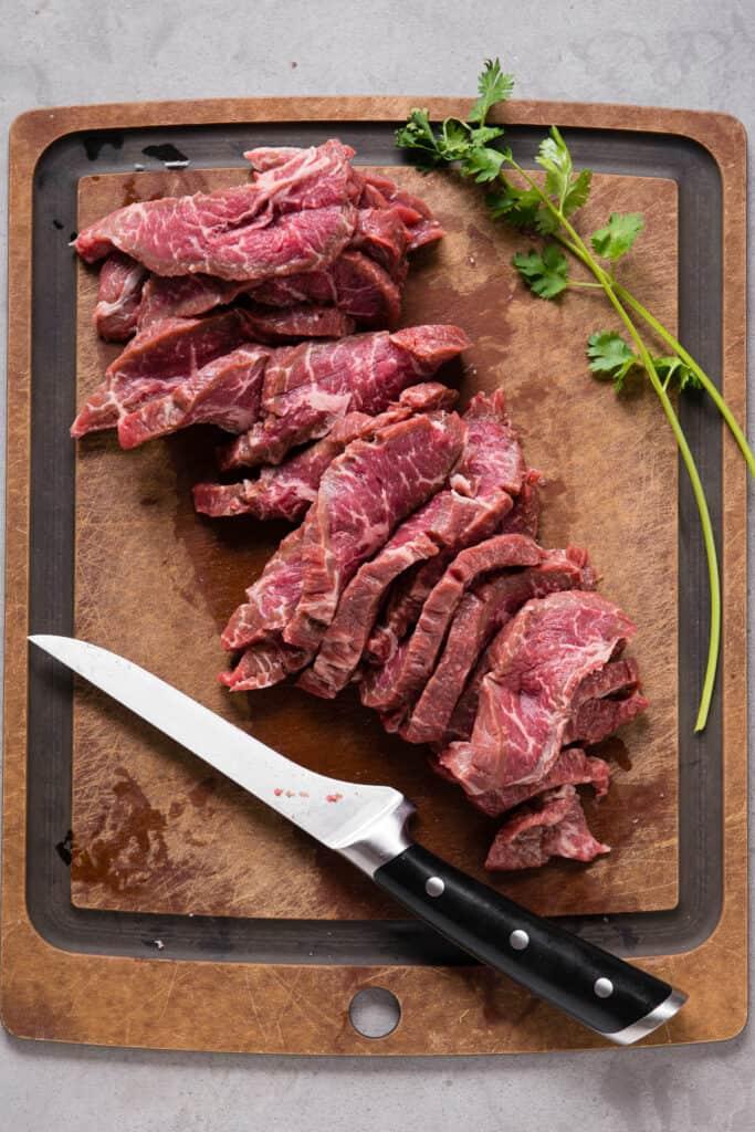sliced steak for fajita recipe