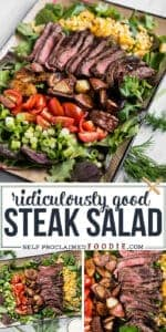 the best steak salad recipe with flat iron steak, potatoes and corn with ranch