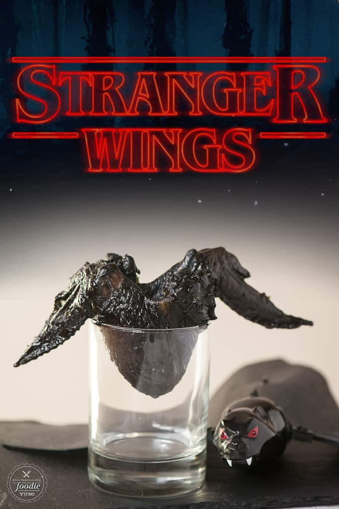 With a little black food coloring and Asian marinade, these spooky Stranger Wings look like roasted bat wings and are the perfect Halloween party food!