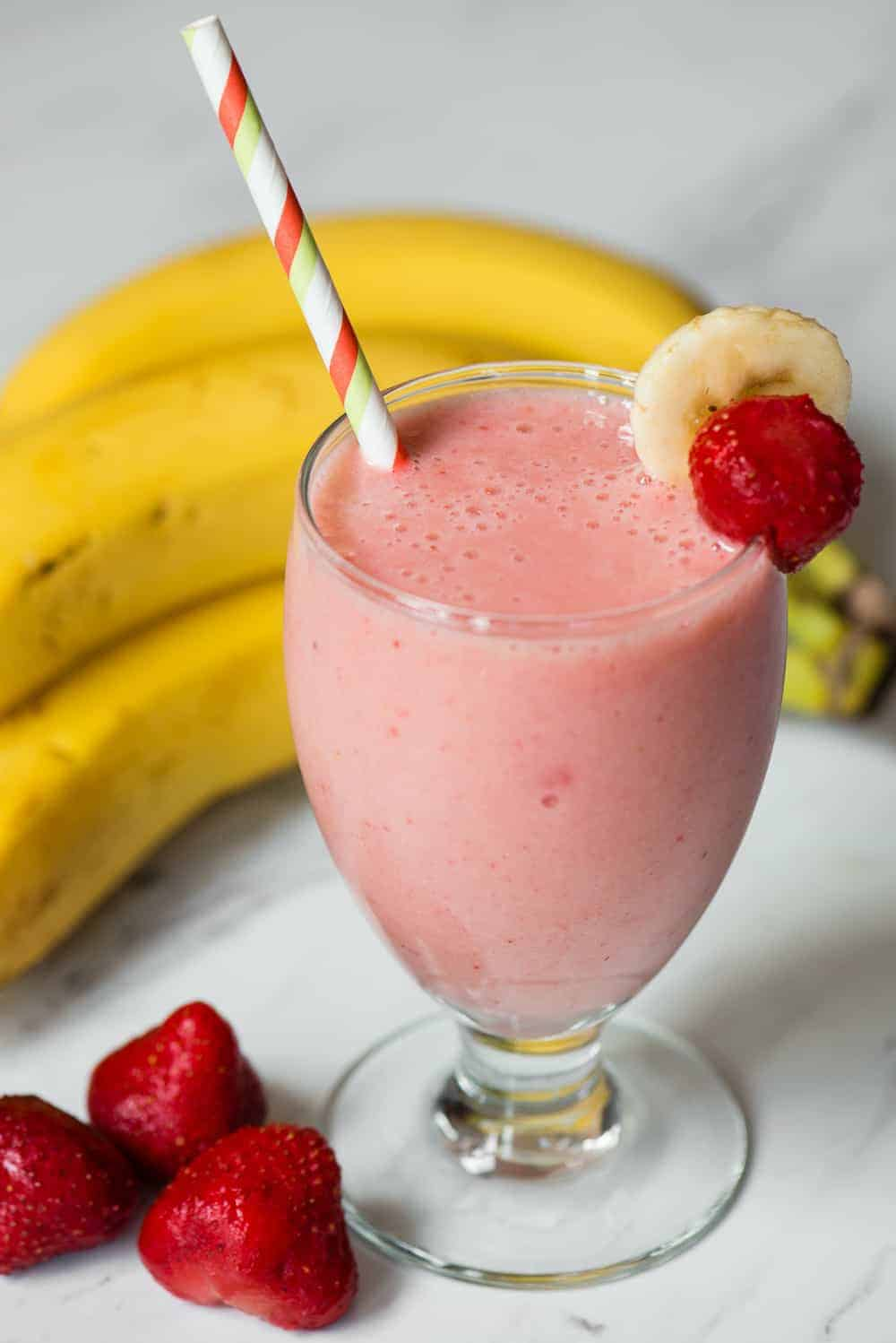 strawberry Banana Smoothie in glass