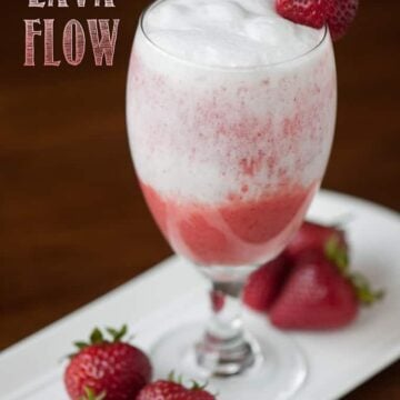 blended strawberry coconut drink in glass
