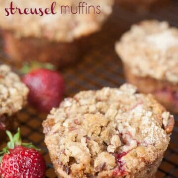 Indulge in this naughty summer treat. Strawberry Rhubarb Streusel Muffins are made with fresh strawberries and tart rhubarb wrapped in a brown sugar batter.