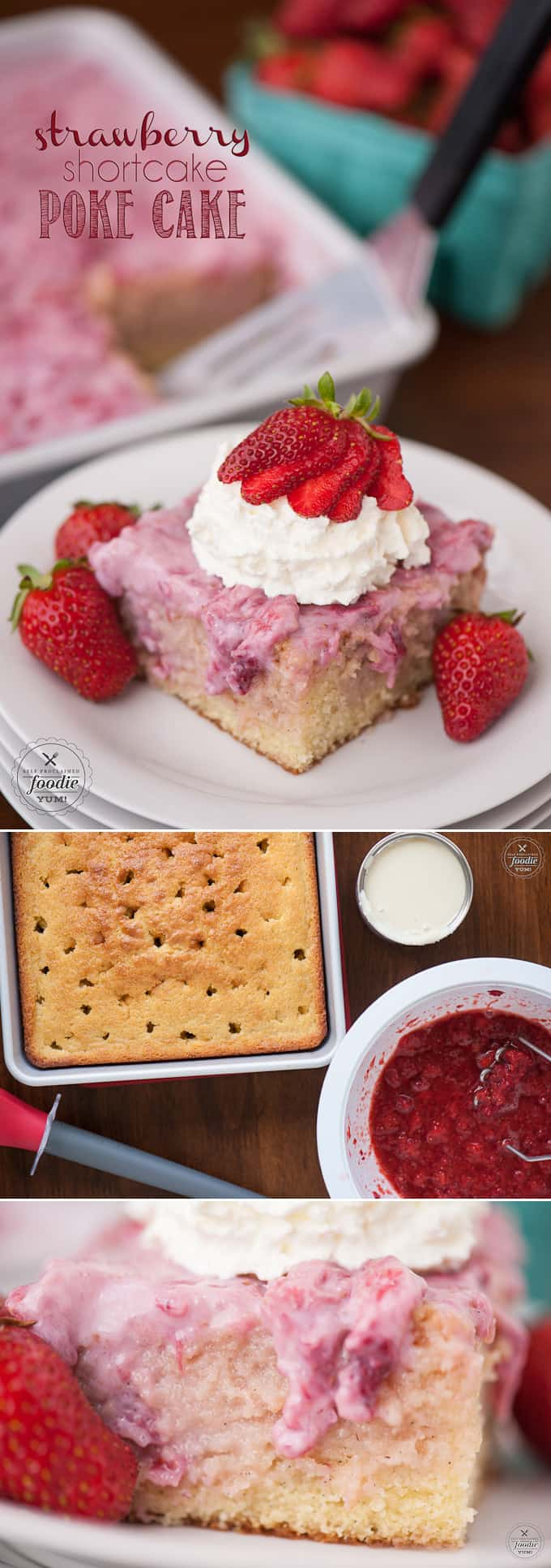Fresh summer strawberries, sweetened condensed milk, and whipped cream transform a basic vanilla cake into a heavenly Strawberry Shortcake Poke Cake.