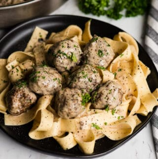 plate of Swedish Meatball Pasta with cream sauce