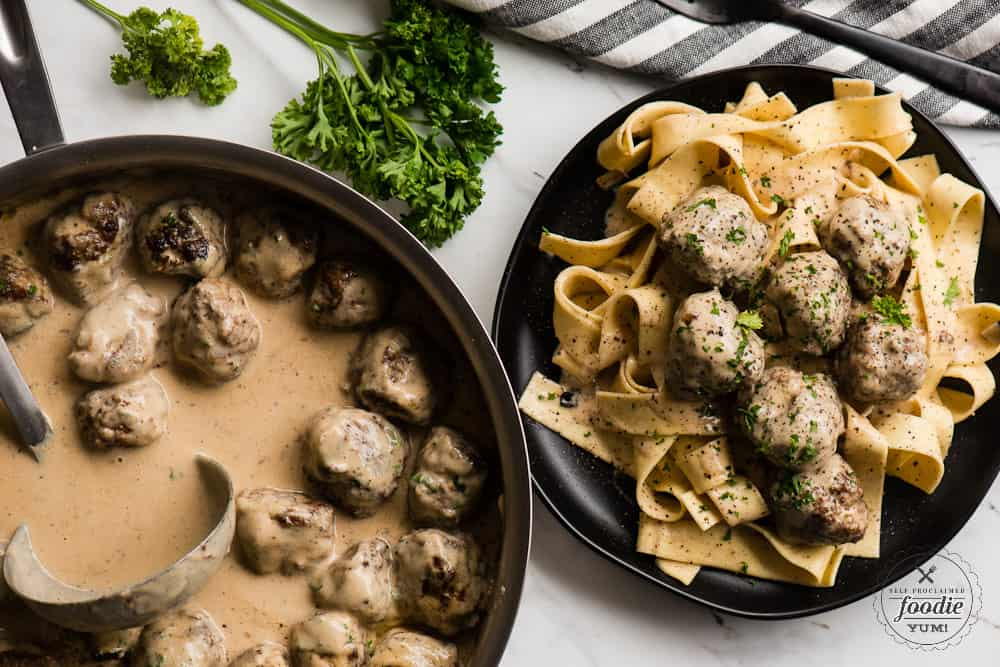 homemade swedish meatballs over pasta