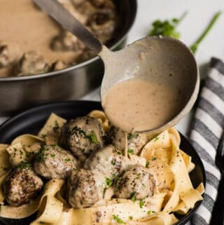 Swedish Meatball Pasta with cream sauce on top