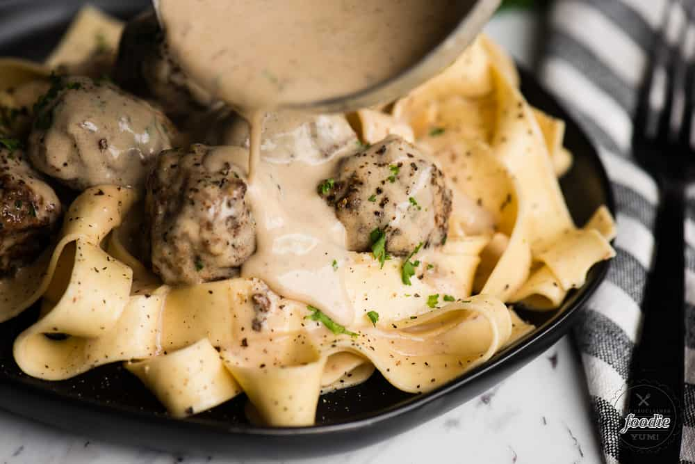 Swedish Meatball Pasta smothered in cream sauce