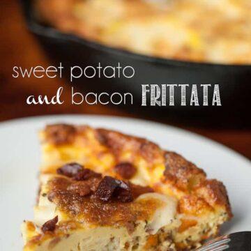 a slice of sweet potato and bacon frittata