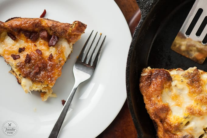 This Sweet Potato and Bacon Frittata is a delicious and protein packed breakfast that can be eaten hot as a family meal or cold for breakfast on the go!