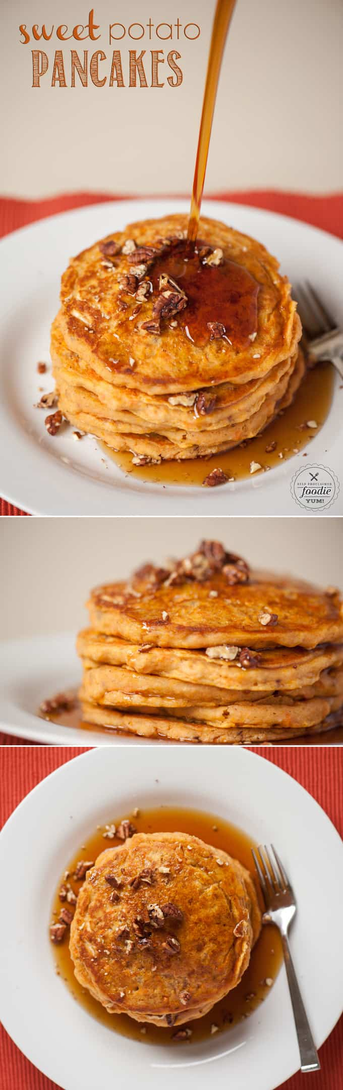 Homemade buttermilk Sweet Potato Pancakes are easy to make and make a perfect breakfast on a crisp fall morning when served with warm pure maple syrup.